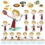 Blond hair man White cooking. Set of various poses of blond hair man White cooking vector illustration