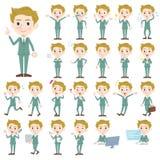 Blond hair man White. Set of various poses of blond hair man White Royalty Free Stock Images