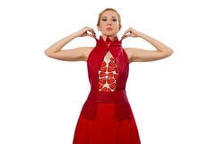 The blond hair model in dress with pomegranate isolated on white Royalty Free Stock Photos