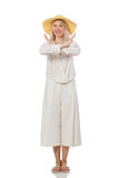 The blond hair model in elegant flared pants isolated on white Royalty Free Stock Photos