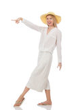 The blond hair model in elegant flared pants isolated on white Stock Photography