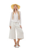 The blond hair model in elegant flared pants isolated on white Stock Image