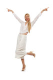 The blond hair model in elegant flared pants isolated on white Stock Photo