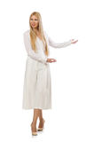 Blond hair model in elegant flared pants isolated on white Royalty Free Stock Photos