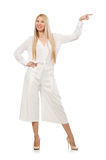 The blond hair model in elegant flared pants  on white Royalty Free Stock Photography