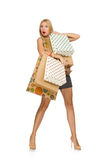 The blond hair model holding plastic bags isolated on white Royalty Free Stock Images