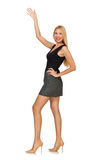 The blond hair model wearing gray skirt isolated on white Royalty Free Stock Photos