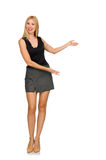 The blond hair model wearing gray skirt isolated on white Royalty Free Stock Photography