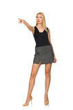 The blond hair model wearing gray skirt isolated on white Royalty Free Stock Photo