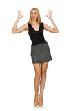 Blond hair model wearing gray skirt isolated on white Royalty Free Stock Photos