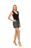 Blond hair model wearing gray skirt isolated on white Royalty Free Stock Images