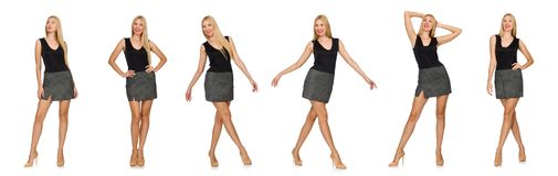 The blond hair model wearing gray skirt isolated on white Stock Photo