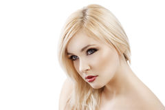 Blond with hair over one shoulder Stock Image