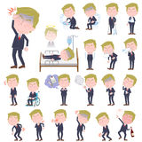 Blond hair suit style Old man sickness. Set of various poses of Blond hair suit style Old man sickness Royalty Free Stock Images