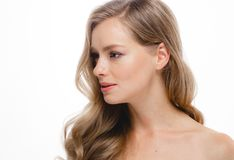 Blond Hair Woman Beauty Skincare Portrait. Age Concept. Spa Salo. N Girl Woman Perfect Model. Beautiful Long Blonde Hair Hairstyle look.  on a white background Royalty Free Stock Photo