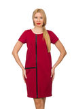Blond hair woman in bordo dress isolated on white Stock Photos