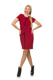 Blond hair woman in bordo dress isolated on white Royalty Free Stock Photography
