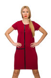 Blond hair woman in bordo dress isolated on white Stock Photo