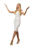 Blond hair woman in elegant dress isolated on Royalty Free Stock Photography