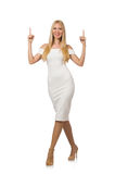 The blond hair woman in elegant dress isolated on Royalty Free Stock Photography