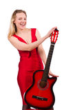 The blond hair woman with guitar isolated on white Royalty Free Stock Image