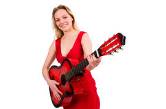 The blond hair woman with guitar isolated on white Stock Photography