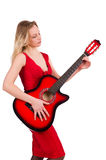 The blond hair woman with guitar on white Stock Images