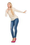 The blond hair woman posing in blue jeans isolated on white Royalty Free Stock Image