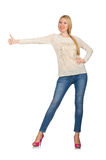 The blond hair woman posing in blue jeans isolated on white Stock Image