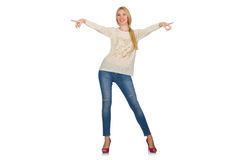 The blond hair woman posing in blue jeans isolated on white Royalty Free Stock Photography
