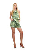 The blond hair woman wearing green short dress. Blond hair woman wearing green short dress isolated on white stock photos