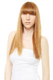 Blond hair. Young woman with long, straight hair Stock Photo