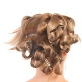 Blond hairdo in progress Royalty Free Stock Photo