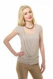 Blond haired affärskvinna i sommart-skjorta Royaltyfria Bilder
