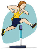 Blond Haired Athlete Jumping in Hurdling Event, Vector Illustration Royalty Free Stock Photos