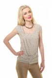 Blond Haired Business Woman In Summer T-shirt Royalty Free Stock Images