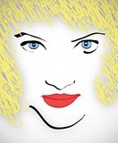 Blond haired woman. Illustration of blond haired woman with red lips and blue eyes vector illustration