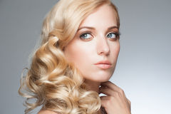 Blond with hairstyle and makeup Royalty Free Stock Photo