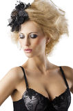 Blond hairstyle sexy girl with bra underwear, she Royalty Free Stock Photography