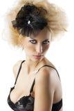 Blond hairstyle sexy girl with bra underwear Stock Photos