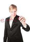 Blond handsome man drawing formula Stock Photos