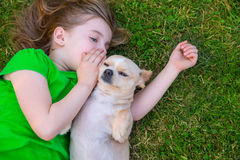 Blond happy girl with her chihuahua doggy portrait. Lying on lawn Royalty Free Stock Photo