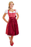 Blond happy woman in dirndl Stock Image