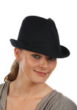 Blond in hat Royalty Free Stock Photography
