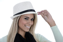 Blond with a hat. Cheerful pretty blond woman with a hat Stock Images