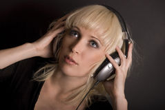 Blond & Headphones Royalty Free Stock Image