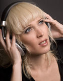 Blond & Headphones Royalty Free Stock Photo