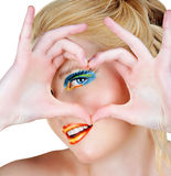 Blond heart symbol Royalty Free Stock Images