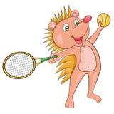 Blond Hedgehog plays tennis. Cartoon style. Clip art for children. Stock Image