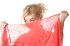 Blond hiding face Stock Image